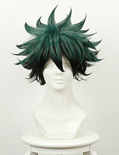 baratos Cosplay Anime-Perucas de Cosplay Meu herói Batalha Academy For All / Boku no herói Academia Midoriya Izuku Anime Perucas de Cosplay 14 polegada Fibra Resistente ao Calor Homens Perucas para o Dia das Bruxas