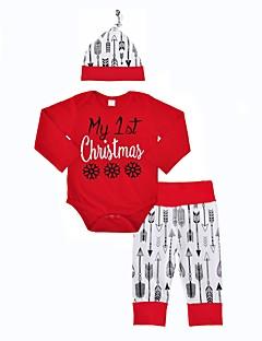 billige Sett med babyklær-Baby Pige Tøjsæt Jul Afslappet Indendørs udendørs Trykt mønster Mode, Bomuld Vinter Forår/Vinter Langærmet Dyretryk Rød
