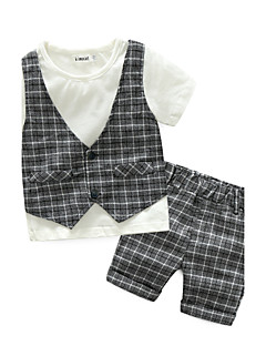 Boys' Check Clothing Set,Cotton Summer Short Sleeve Check Gray Khaki