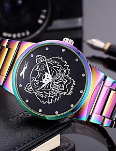 Herrn Damen Modeuhr Armbanduhr Armband-Uhr Chinesisch Quartz Punk Großes Ziffernblatt Edelstahl Band Regenbogen Bettelarmband Armreif