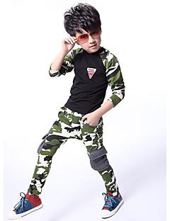 billige Tøjsæt til drenge-Drenge Tøjsæt camouflage, Bomuld Alle årstider Langærmet Army Grøn