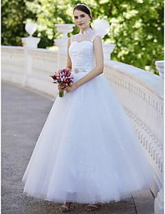 billiga Balbrudklänningar-Balklänning Hög hals Ankellång Tyll Bröllopsklänningar tillverkade med Paljett / Applikationsbroderi av LAN TING BRIDE® / Glittra och gläns / Genomskinliga