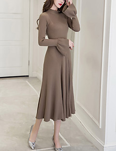 Women's Daily Going out Street chic Sweater Dress,Solid Round Neck Midi Long Sleeves Polyester Winter Fall High Rise Stretchy Medium
