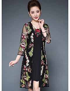 hesapli YBKCP-Kadın Dışarı Çıkma Kılıf Elbise Desen,3/4 Kol Yuvarlak Yaka Diz üstü Keten Sonbahar Normal Bel Mikro-Esnek Orta