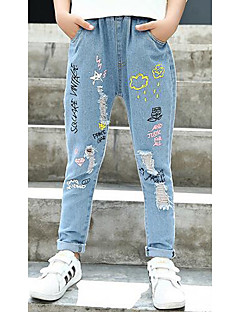 Girls' Embroidered Jeans-Cotton Spring