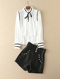 レディース お出かけ 秋 シャツ パンツ スーツ,ヴィンテージ モダンシティ スタンド カラーブロック リボン 長袖