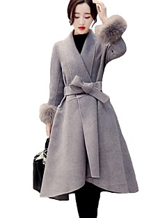 Women's Plus Size Casual/Daily Simple Winter Fur Coat,Solid Shawl Lapel Long Sleeve Long Cashmere Nylon