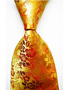 Men's Polyester Neck Tie,Striped Striped All Seasons Gold