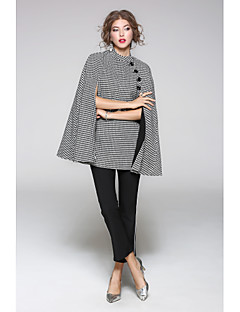 JOJO HANS Women's Going out Casual/Daily Street chic Spring Fall Cloak/CapesSolid Geometric Round Neck Long Sleeve Regular Wool Cotton Polyester