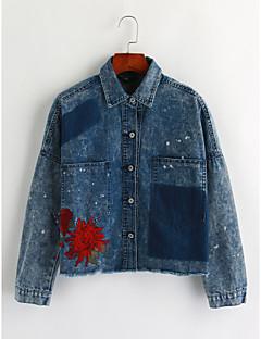 baratos Ponta de Estoque-Mulheres Jaqueta jeans Vintage - Sólido, Algodão Colarinho de Camisa Bordado