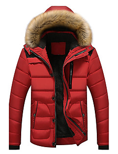 Men's Short Padded Coat,Simple Casual/Daily Solid-Polyester Polyester Long Sleeves Hooded