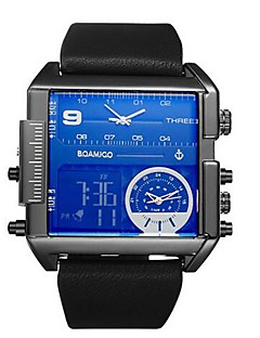 Herrn Sportuhr Modeuhr Armbanduhren für den Alltag Chinesisch Quartz Kalender Chronograph Wasserdicht Leder Echtes Leder Band Bequem