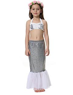 billige Badetøj til piger-Pige Farveblok Badetøj, Polyester Nylon Hvid