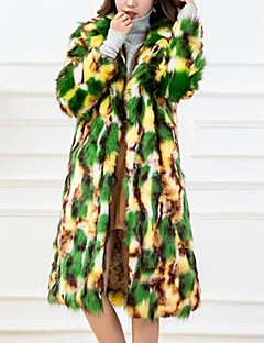 Feminino Casaco de Pêlo Festa Casual Vintage Fofo Moda de Rua Inverno,camuflagem Longo Pêlo Sintético Pêlo de Raposa Colarinho de Camisa