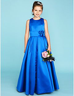 A-Line Princess Jewel Neck Floor Length Satin Junior Bridesmaid Dress with Flower(s) Sash / Ribbon by LAN TING BRIDE®