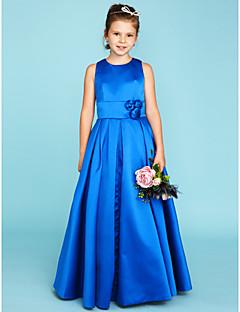 A-Linie Princess Klenot Na zem Satén Šaty pro malou družičku s Květina(y) Šerpa / Stuha podle LAN TING BRIDE®