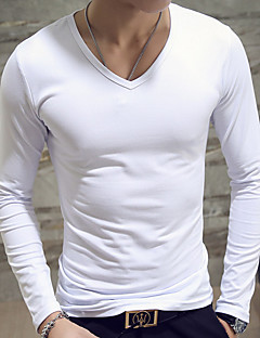 Men's Casual/Daily Simple Spring Fall T-shirt,Solid V Neck Long Sleeves Cotton Medium