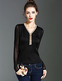 Dames Vintage Street chic Verfijnd Lente Herfst T-shirt,Feestdagen Uitgaan Effen V-hals Lange mouw Polyester Medium