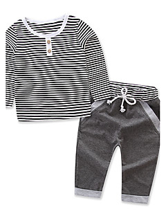 Girls' Stripes Striped Sets,Cotton Spring Fall Long Pant Clothing Set