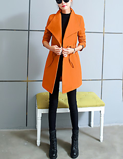 baratos -Feminino Casaco Casual Trabalho Simples Outono Inverno,Sólido Padrão Poliéster Colarinho de Camisa Manga Longa