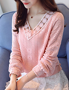 Women's Daily Work Casual Spring Fall T-shirt,Solid V Neck Long Sleeves Polyester Thin
