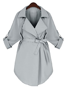 Women's Casual/Daily Simple Spring Fall Trench Coat,Solid V Neck Long Sleeve Regular Polyester
