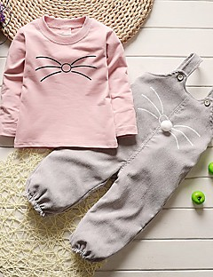 Girls' Solid Others Clothing Set,Cotton Spring Fall Long Sleeve Cartoon Green Blushing Pink Gray