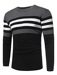 Men's Daily Going out Casual Street chic Regular Pullover,Solid Striped Color Block Round Neck Long Sleeves Cashmere Cotton Winter Fall