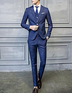 Herren Gestreift Einfach Lässig/Alltäglich Übergröße Anzug,Gekerbtes Revers Herbst Winter Lange Ärmel Standard Polyester