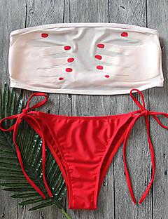 Dame Bikini Blomstret Netting Bandeau Trykt mønster