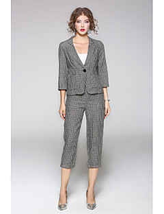 Women's Daily Casual Fall Shirt Pant Suits,Solid Print Shirt Collar Long Sleeve Linen