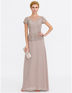 A-Line V-neck Floor Length Chiffon Lace Mother of the Bride Dress with Beading Lace by LAN TING BRIDE®