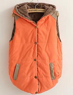 Χαμηλού Κόστους Γούνινο παλτό με κουκούλα-Γυναικεία Μεγάλα Μεγέθη Veste Εξόδου Χαριτωμένο Ενεργό - Μονόχρωμο, Υπερμεγέθη Βαμβάκι Με Κουκούλα