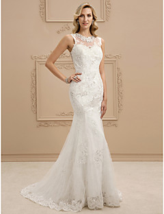 cheap High-end Wedding Dresses-Mermaid / Trumpet Illusion Neck Sweep / Brush Train Lace Made-To-Measure Wedding Dresses with Sequin / Crystals by LAN TING BRIDE®