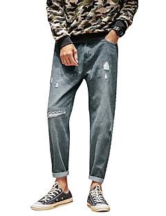 Herre Enkel Mikroelastisk Jeans Bukser,Rett Mellomhøyt liv Ensfarget