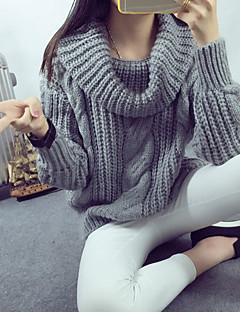 baratos Suéteres de Mulher-Mulheres Para Noite Vintage Sólido Manga Longa Padrão Pulôver, Gola Alta Primavera Laranja / Cinzento / Roxo Tamanho Único