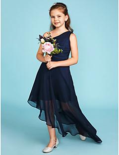 billige Bryllupsbutikken-A-linje Enskuldret Asymmetrisk Chiffon Junior brudepikekjole med Sidedrapering av LAN TING BRIDE® / Bryllupsfest