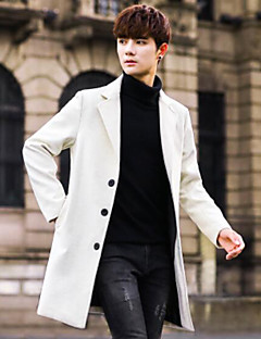 Men's Daily Simple Casual Winter Coat,Solid Peaked Lapel Long Sleeve Long Others