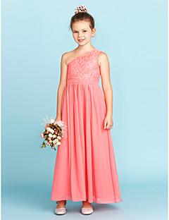 cheap Junior Bridesmaid Dresses-A-Line Princess One Shoulder Ankle Length Chiffon Lace Junior Bridesmaid Dress with Sash / Ribbon Pleats by LAN TING BRIDE®
