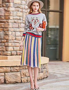 Women's Daily Work Casual Sophisticated Winter Fall Blouse Skirt Suits,Embroidery Round Neck Long Sleeve Embroidered Wool Polyester