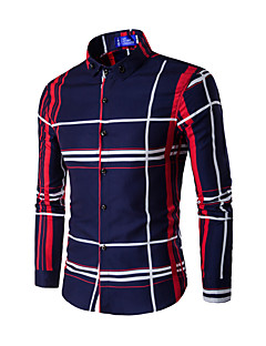 Men's Going out Casual/Daily Simple Spring Fall Shirt,Solid Shirt Collar Long Sleeves Polyester