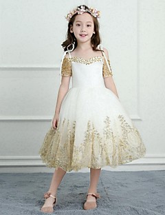 A-Line Tea Length Flower Girl Dress - Satin Tulle Short Sleeves Spaghetti Straps with Beading Appliques by Nameilisha