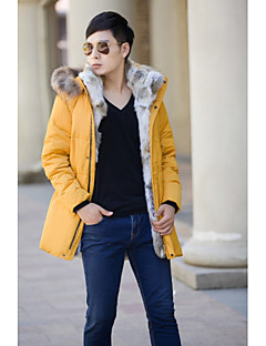 Men's Long Down Coat,Simple Casual/Daily Plus Size Solid-Lamb Fur Rex Rabbit Fur White Duck Down Long Sleeves Hooded