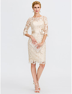 Sheath / Column Illusion Neckline Knee Length Lace Mother of the Bride Dress with Bow(s) Sash / Ribbon by LAN TING BRIDE®