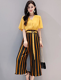 Women's Casual/Daily Simple Summer Blouse Pant Suits,Striped V Neck Half Sleeves