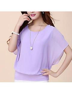 billige Plusstørrelser til kvinder på udsalg-Dame - Ensfarvet I-byen-tøj Bluse / Sommer / flare Sleeve