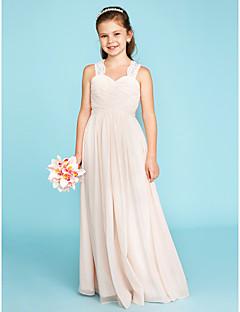 A-Linie Princess Ramínka Na zem Šifón Krajka Šaty pro malou družičku s Nabírané Nabírané po stranách podle LAN TING BRIDE®