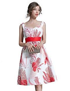 קיץ סתיו כותנה פוליאסטר ללא שרוולים עד הברך כתפיה פרחוני פשוטה סגנון רחוב יום יומי\קז'ואל ליציאה שמלה גזרת A נשים,גיזרה גבוהה קשיח בינוני