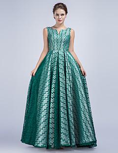 Linia -A Gât V Lungime Podea Satin Seară Formală Rochie cu Pană / Blană de TS Couture®