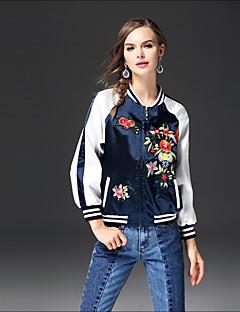 Damen Druck Einfarbig Street Schick Ausgehen Lässig/Alltäglich Jacke,Ständer Herbst Winter Lange Ärmel Standard Baumwolle Andere